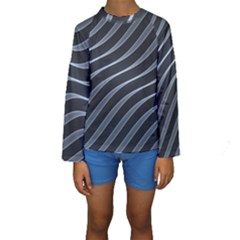 Metal Steel Stripped Creative Kids  Long Sleeve Swimwear