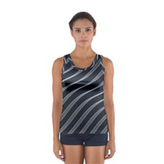 Metal Steel Stripped Creative Sport Tank Top