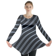 Metal Steel Stripped Creative Long Sleeve Tunic