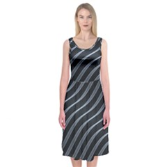 Metal Steel Stripped Creative Midi Sleeveless Dress