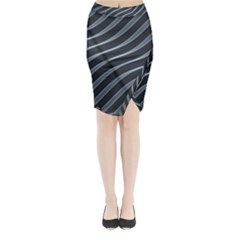 Metal Steel Stripped Creative Midi Wrap Pencil Skirt