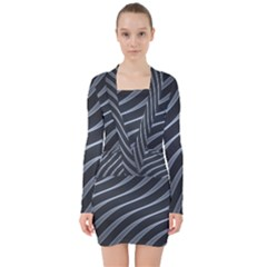 Metal Steel Stripped Creative V Neck Bodycon Long Sleeve Dress