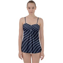 Metal Steel Stripped Creative Babydoll Tankini Set