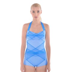 Background Light Glow Blue Boyleg Halter Swimsuit