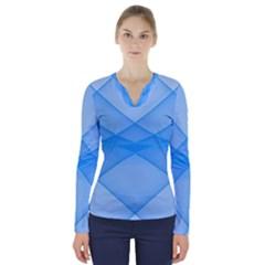 Background Light Glow Blue V Neck Long Sleeve Top