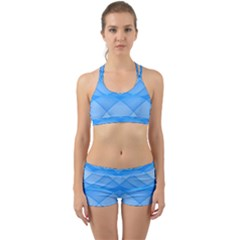 Background Light Glow Blue Back Web Sports Bra Set