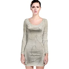 Background Wall Marble Cracks Long Sleeve Bodycon Dress