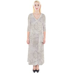 Background Wall Marble Cracks Quarter Sleeve Wrap Maxi Dress