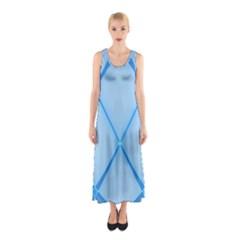 Background Light Glow Blue Sleeveless Maxi Dress