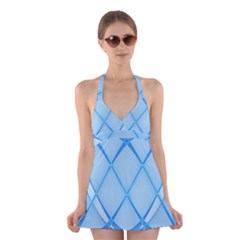 Background Light Glow Blue Halter Dress Swimsuit