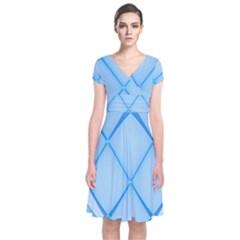 Background Light Glow Blue Short Sleeve Front Wrap Dress by Nexatart