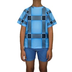 Wall Blue Steel Light Creative Kids  Short Sleeve Swimwear