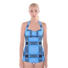 Wall Blue Steel Light Creative Boyleg Halter Swimsuit