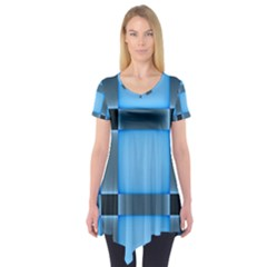 Wall Blue Steel Light Creative Short Sleeve Tunic