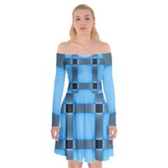 Wall Blue Steel Light Creative Off Shoulder Skater Dress