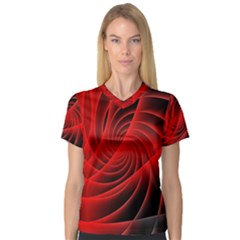 Red Abstract Art Background Digital V Neck Sport Mesh Tee