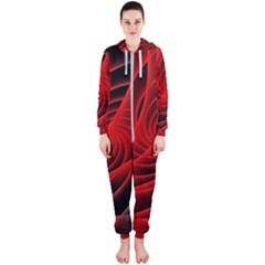 Red Abstract Art Background Digital Hooded Jumpsuit (ladies)