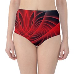 Red Abstract Art Background Digital High Waist Bikini Bottoms