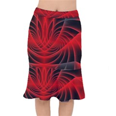 Red Abstract Art Background Digital Mermaid Skirt