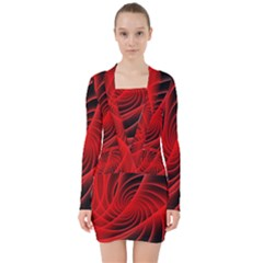 Red Abstract Art Background Digital V Neck Bodycon Long Sleeve Dress