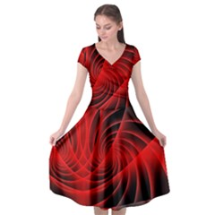 Red Abstract Art Background Digital Cap Sleeve Wrap Front Dress
