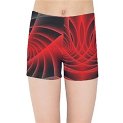 Red Abstract Art Background Digital Kids Sports Shorts
