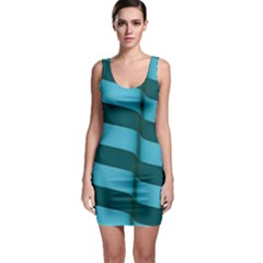 Curtain Stripped Blue Creative Bodycon Dress