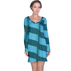 Curtain Stripped Blue Creative Long Sleeve Nightdress