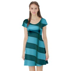 Curtain Stripped Blue Creative Short Sleeve Skater Dress