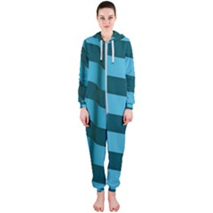 Curtain Stripped Blue Creative Hooded Jumpsuit (ladies)