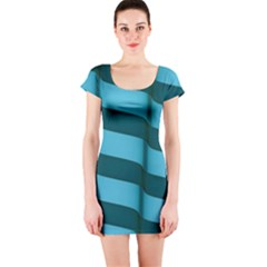 Curtain Stripped Blue Creative Short Sleeve Bodycon Dress