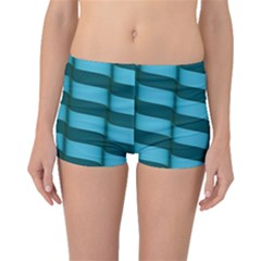 Curtain Stripped Blue Creative Boyleg Bikini Bottoms