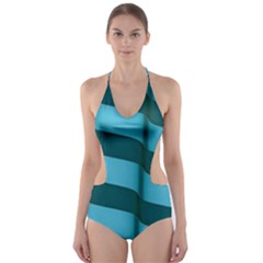 Curtain Stripped Blue Creative Cut Out One Piece Swimsuit