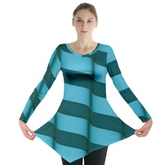 Curtain Stripped Blue Creative Long Sleeve Tunic