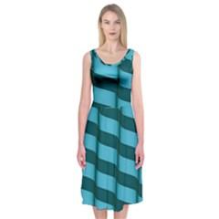 Curtain Stripped Blue Creative Midi Sleeveless Dress