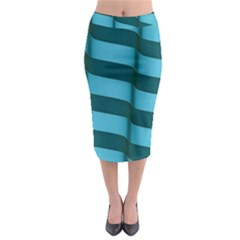Curtain Stripped Blue Creative Midi Pencil Skirt