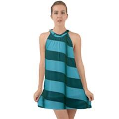 Curtain Stripped Blue Creative Halter Tie Back Chiffon Dress