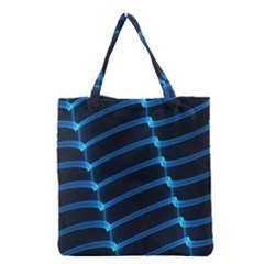 Background Neon Light Glow Blue Grocery Tote Bag