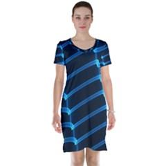 Background Neon Light Glow Blue Short Sleeve Nightdress