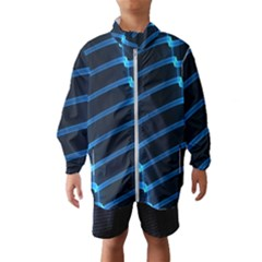 Background Neon Light Glow Blue Wind Breaker (kids)