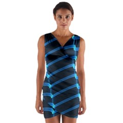 Background Neon Light Glow Blue Wrap Front Bodycon Dress