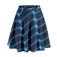 Background Neon Light Glow Blue High Waist Skirt