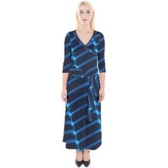 Background Neon Light Glow Blue Quarter Sleeve Wrap Maxi Dress