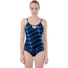 Background Neon Light Glow Blue Cut Out Top Tankini Set