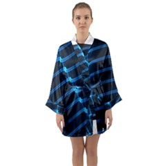 Background Neon Light Glow Blue Long Sleeve Kimono Robe