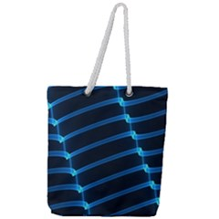 Background Neon Light Glow Blue Full Print Rope Handle Tote (large)