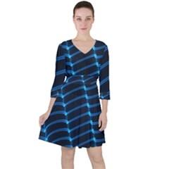 Background Neon Light Glow Blue Ruffle Dress by Nexatart