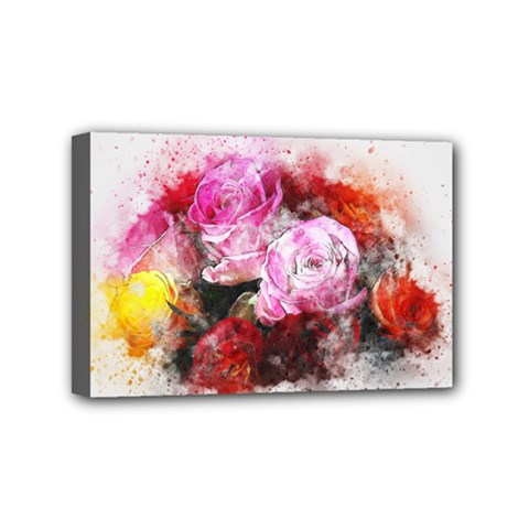 Flowers Roses Wedding Bouquet Art Mini Canvas 6  X 4