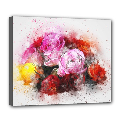 Flowers Roses Wedding Bouquet Art Deluxe Canvas 24  X 20