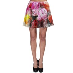 Flowers Roses Wedding Bouquet Art Skater Skirt